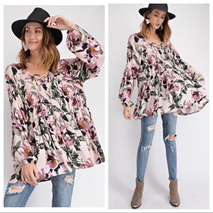 HARLOW-Tie Front Floral Print Tunic Top